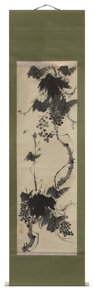 Malerei, #006160 unknown artist, Vine tendril with grapes, Meiji (1868-1912)