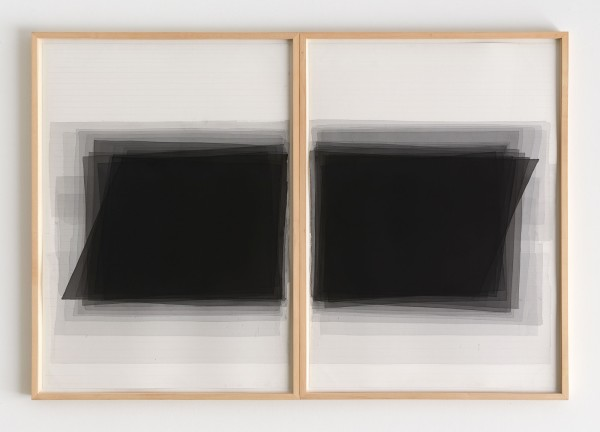 Joachim Bandau #021912 o.T., 18.2. 2004 (2-teilig), 2004 Aquarell auf 'Fabriano 5' Bütten je 100 x 70 cm (2 Ahorn – Rahmen je 103,5 x 73,5 cm)