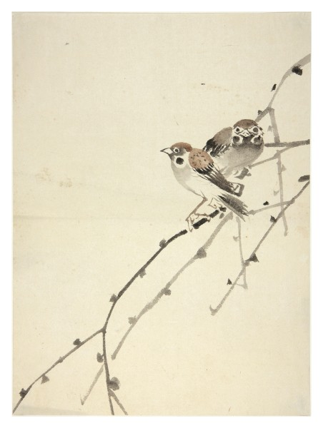 Malerei, #008132 anonymous artist, Two sparrows on a willow branch, Meiji period (1868-1912)
