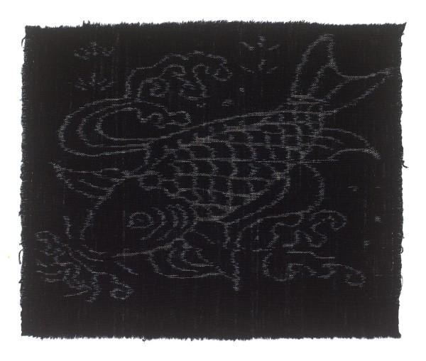 Textilien, #004225 Kasuri, Schwimmender Karpfen in Wasserlauf