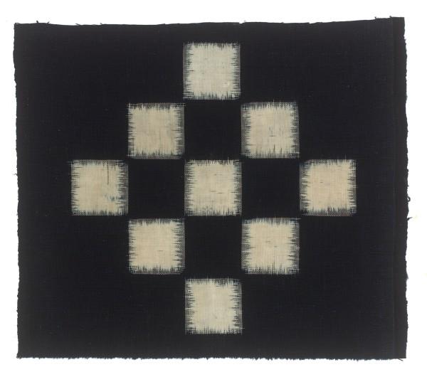 Textilien, #004100 Kasuri, Schachbrettmuster aus neun weissen Quadraten, 19. Jh.