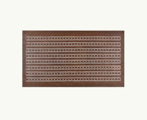 Katagami / Uwagami #016727 Katagami (Textilfärbeschablone), Japan, Späte Edo-Zeit / Meiji-Zeit (2. H. 19. Jh. / Anfang 20. Jh.) Typ: komon (kleine Muster) 割付柄 waritsuke-gara. parallele Streifen aus Punkten. Schnitttechnik: dôgubori (Stanztechnik). Handgeschöpftes Papier (washi), imprägniert mit Persimonentanin (kaki-shibu) Overall dimension: 29 x 46 cm; exemplar: 18,8 x 39 cm; Passepartout: 50 x 60 cm