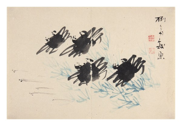Malerei, #002661 HATSUSAI, Four crabs on the beach, 19th century