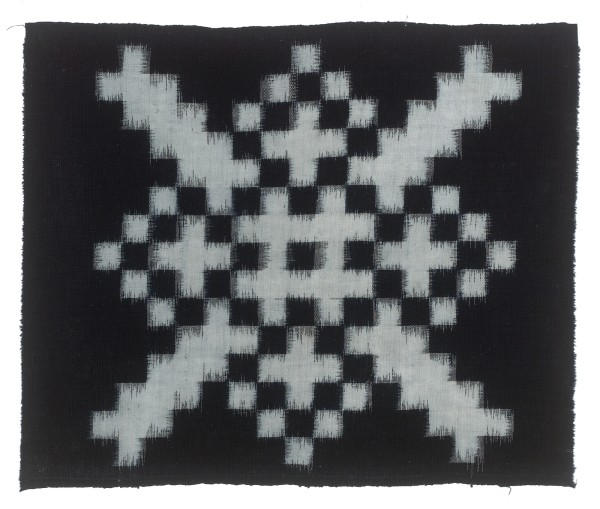 Textilien, #004141 Kasuri, Grosses Schachbrettmuster aus kleinen weissen Quadraten