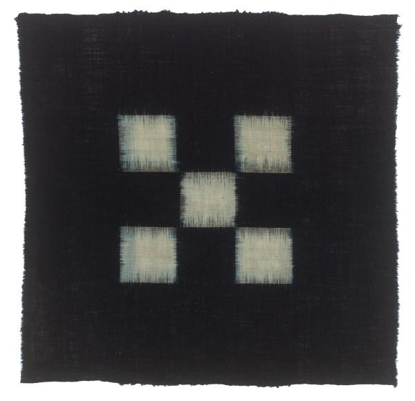Textilien, #004097 Kasuri, Einfaches Schachbrettmuster aus fünf weissen Quadraten