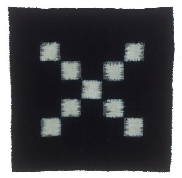 Textilien, #004150 Kasuri, Diagonales Schachbrettmuster aus neun weissen Quadraten