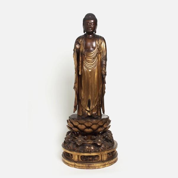 Holzobjekte, #004905 Stehende Figur des Buddha Amiga-nyorai, Edo-Zeit, wohl frühes 19. Jahrhundert