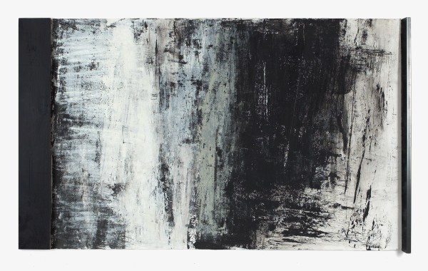 Monika Huber #019922 untitled (3 panels) 98/I/57, 1994-1998 left: Oil on wood, middle: acrylic/oil on paper, right: steel 100 x 166 cm