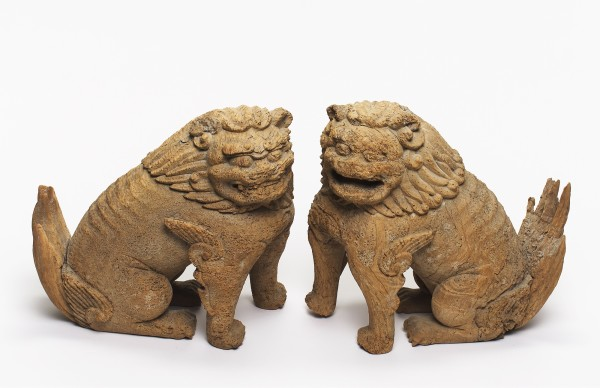 Holzobjekte, #004904 Koma-inu (Löwenhunde)