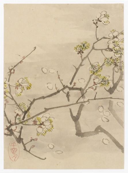 Malerei, #007474 Pflaumenblüten im Wind, Japan, 19. Jh.