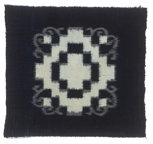Textilien, #004137 Kasuri, Viereckmuster mit Ranken