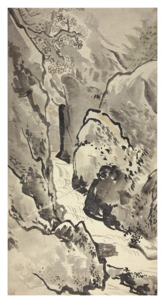 Malerei, #007716 anonymous artist, Canyon with waterfall, 19th century