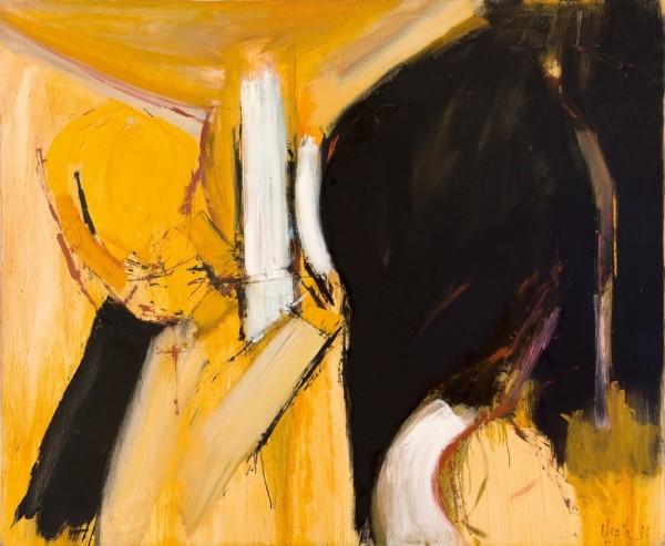 Adrian Heath Painting - Black & Yellow 1961