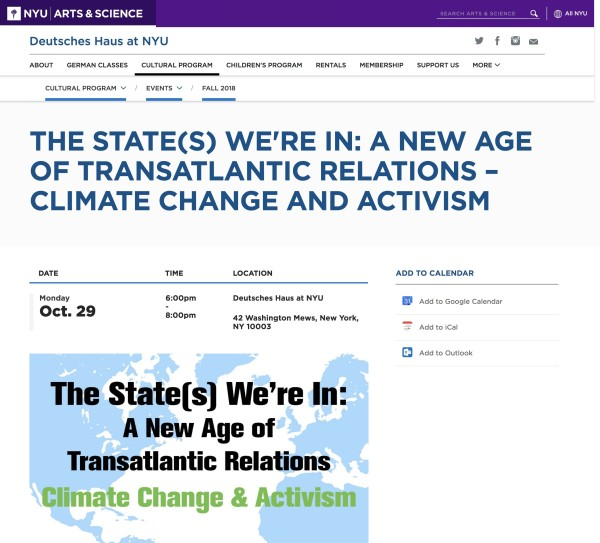 The State(s) We're In: A New Age of Transatlantic Relations- Climate Change and Activism