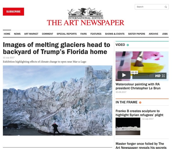 Images of melting glaciers head to backyard of Trump's Florida home