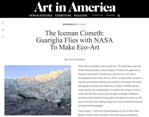 The Iceman Cometh: Guariglia Flies with NASA To Make Eco-Art