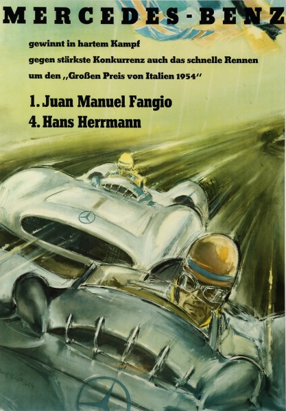 Hans Liska, MERCEDES BENZ - FANGIO, the poster, c1954
