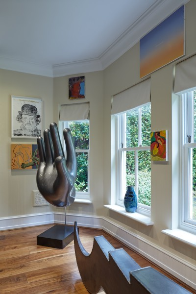 Colden Drystone (top left), Morgan Wills (bottom left), Nikolai Winter (sculpture on floor on left), Grant Foster (painting above far left window), Laurence Owen (vase), David Micheaud (top right), Ralph Hunter-Menzies (bottom right), James Capper (sculpture on floor on right)