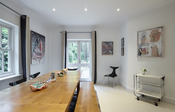 Left to right: Painting by Jane Hayes Greenwood, sculptures on table by Rosie Reed, painting by Adham Faramawy, drawings by Nel Aerts and painting by Megan Rooney.