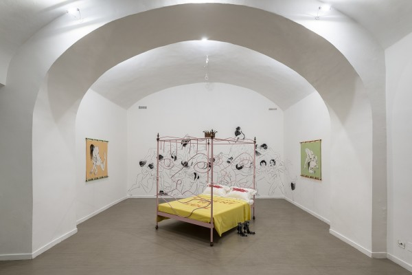 Saelia Aparicio (left, wall mural and right), Charlotte Colbert (bed in centre) and Lindsey Mendick (centre)