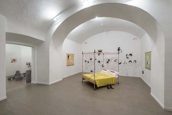 Florence Peake (left), Proudick (Lindsey Mendick and Paloma Proudfoot) (left), Saelia Aparicio (wall on left), Charlotte Colbert (bed in centre) and Lindsey Mendick (centre on floor)