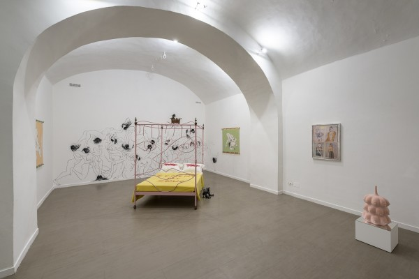Saelia Aparicio (left on walls), Charlotte Colbert (bed in centre), Lindsey Mendick (centre on floor), Megan Rooney (right on wall) and Charlotte Colbert (right on floor)