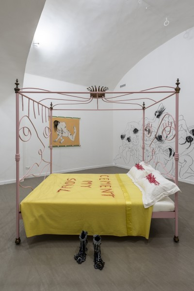 Saelia Aparicio (on walls), Charlotte Colbert (bed in centre) and Lindsey Mendick (centre)