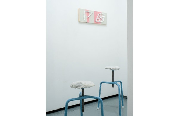 Sofia Stevi (work on wall) and Greece is for Lovers (stools)