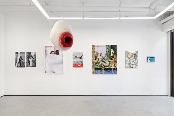From left: Alina Szapocznikow (archival photographs); Mary Stephenson (photograph); Tai Shani (sculpture); Yayoi Kusama (art ephemera); Jessie Makinson (painting); Hannah Murgatroyd (painting); Sara Anstis (painting)