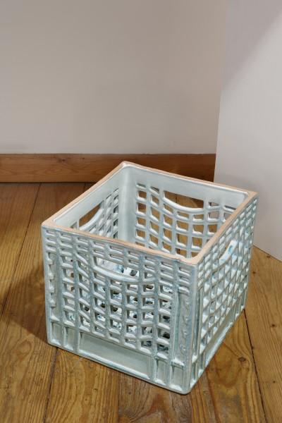 Matthias Merkel Hess, Milk Crate (green/white, curved grid pattern), 2012