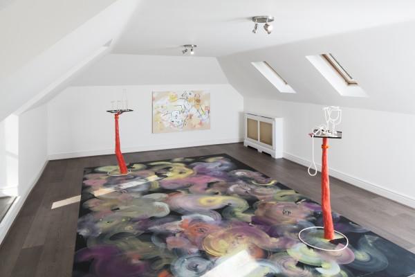 France-Lise McGurn, Energy Flash (floor painting) and Olaz, Olay, Ulay (painting), 2016
