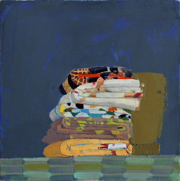 Sydney Licht  Still Life with Fat Quarters, 2014  Oil on linen  10 x 10 in.