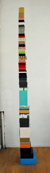 Sydney Licht Tower of Boxes, 2015  Found boxes 144 in. high