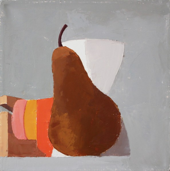 Sydney Licht  Still Life with Pear and Vase, 2015  Oil on linen  10 x 10 in.