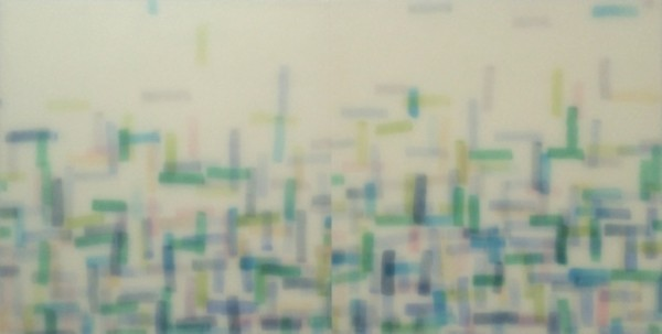Mike Solomon  Elysium, 2015  Watercolor on rice paper with epoxy  24 x 48 in.