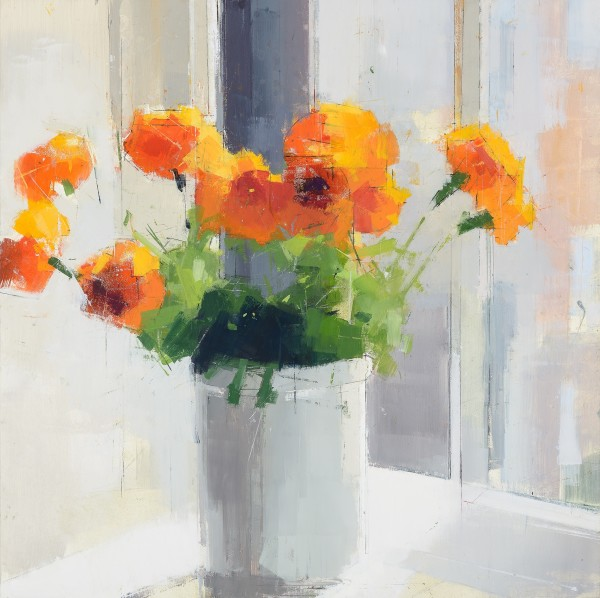 Lisa Breslow  Orange Flowers, 2013  Oil and pencil on panel  16 x 16 in.
