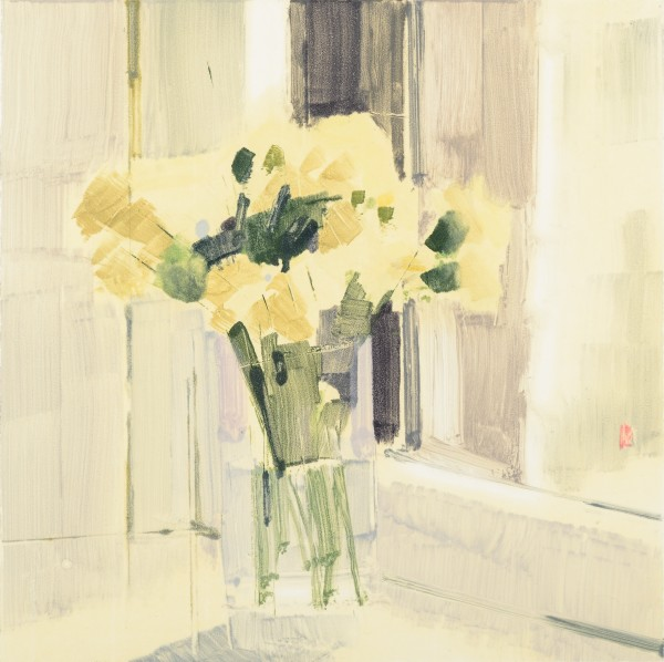 Lisa Breslow  Flowers 10, 2014  Monotype, paper size 22 x 22 inches  12 x 12 in.
