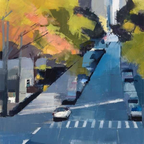 Lisa Breslow  Blue Street, 2014  Oil and pencil on panel  24 x 24 in.