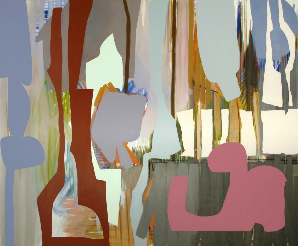 Justine Hill  What Decibel is Background, 2014  Acrylic and pastel on canvas  60 x 80 inches