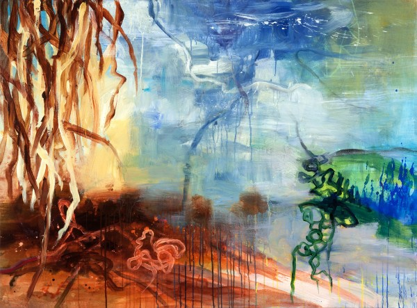 Allison Stewart  Beneath the Sea Mixed Media on Canvas 48 x 65 in.