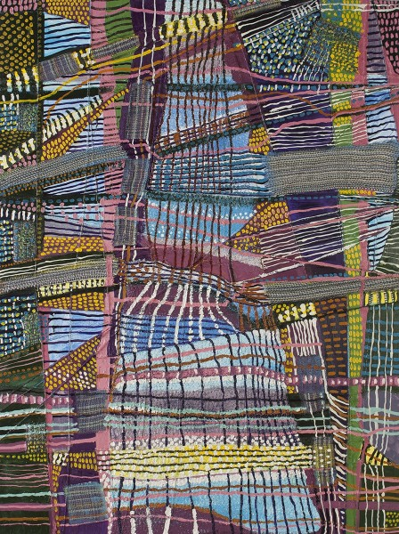 Stacey Piwinski  Object of Labor #3, 2012  Handwoven fabric, string  and oil on canvas  48 x 36 inches
