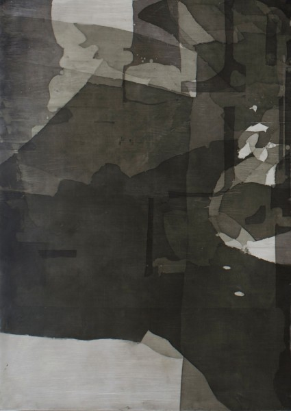 Eric Blum  Untitled No. 682, 2013  Ink, silk, and beeswax on panel  32 x 23 in