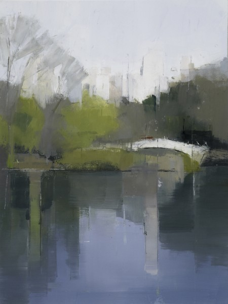 Lisa Breslow  Central Park Lake 3, 2012  Oil and pencil on panel  16 X 12 inches