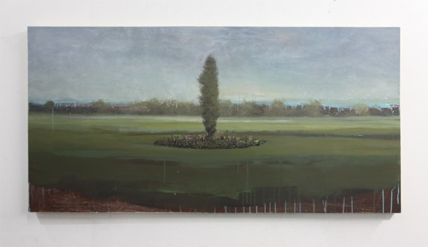 Peter Hoffer  Carnegie, 2012  Oil, acrylic, and resin on panel  36 x 72 inches
