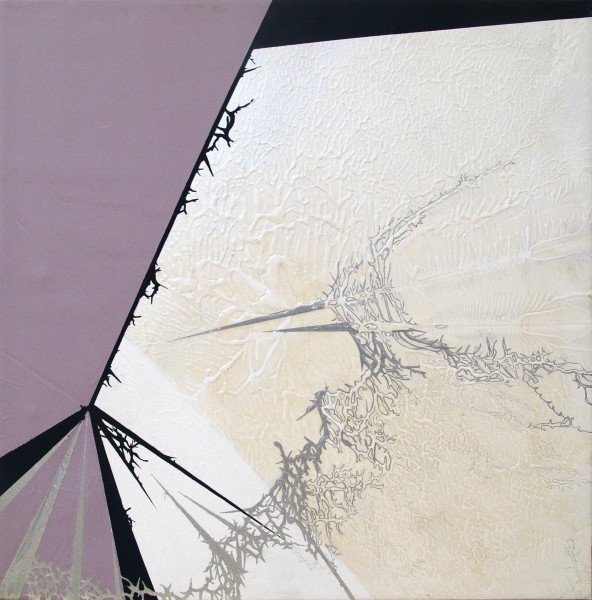 Julie Davidow  Diagram #23 (Black Beetle Origami 4/Sarah Morris), 2010  Gesso, Acrylic, latex, enamel, transference pigment in acrylic binder & chrome paint  36 x 36 in.