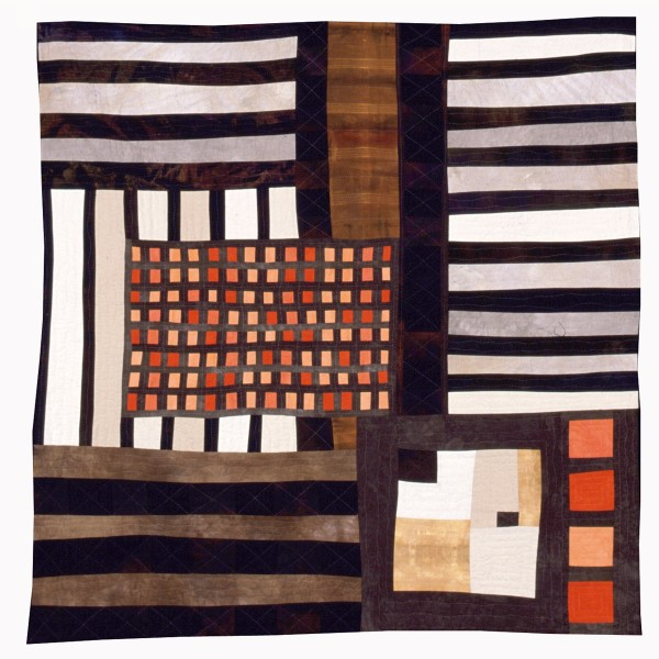Eleanor McCain  Orange Grid, 1999-2000  hand-dyed cotton using cotton batting and backing  50 x 50 in.