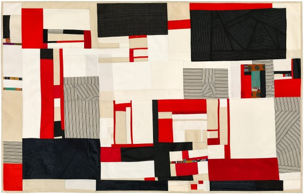"Debra Smith, ""Memory Trace Revisited, No. 2""  2017  Pieced vintage silk  31 x 48 in."