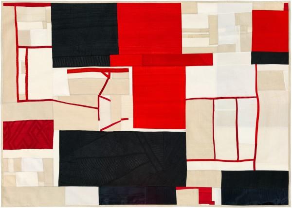 "Debra Smith, ""Memory Trace Revisited, No. 3""  2017  Pieced vintage silk  31 x 43 in."
