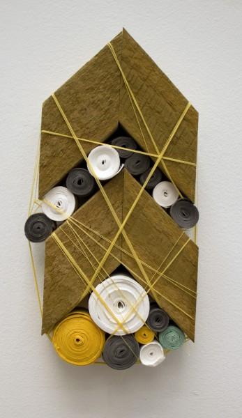 "Sarah Irvin, ""Quilt Series 7""  2015  Cotton quilting thread, salvaged wood, handmade cotton paper  7 x 3 x 1.5 in."