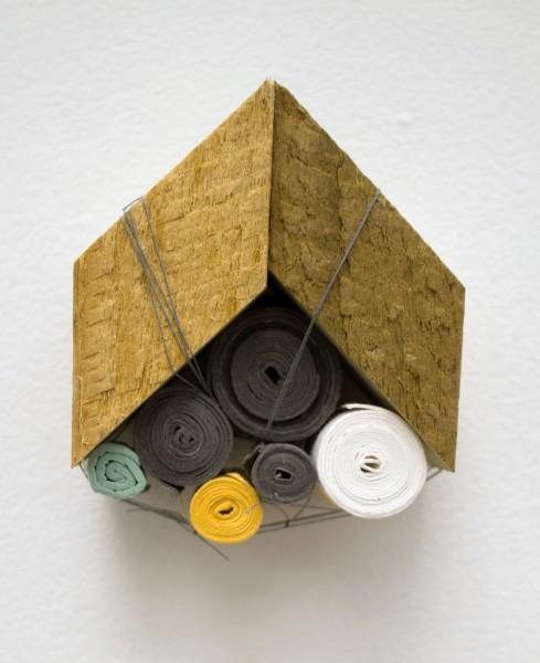 "Sarah Irvin, ""Quilt Series 8""  2015  Cotton quilting thread, salvaged wood, handmade cotton paper  2.5 x 2 x 1.5 in."